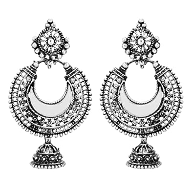 28e097ea4 Buy Shreyadzines Afghani Mirror Work Oxidized Jhumka Jhumki Earrings for  Women and Girls (Silver) Online at Low Prices in India | Amazon Jewellery  Store ...