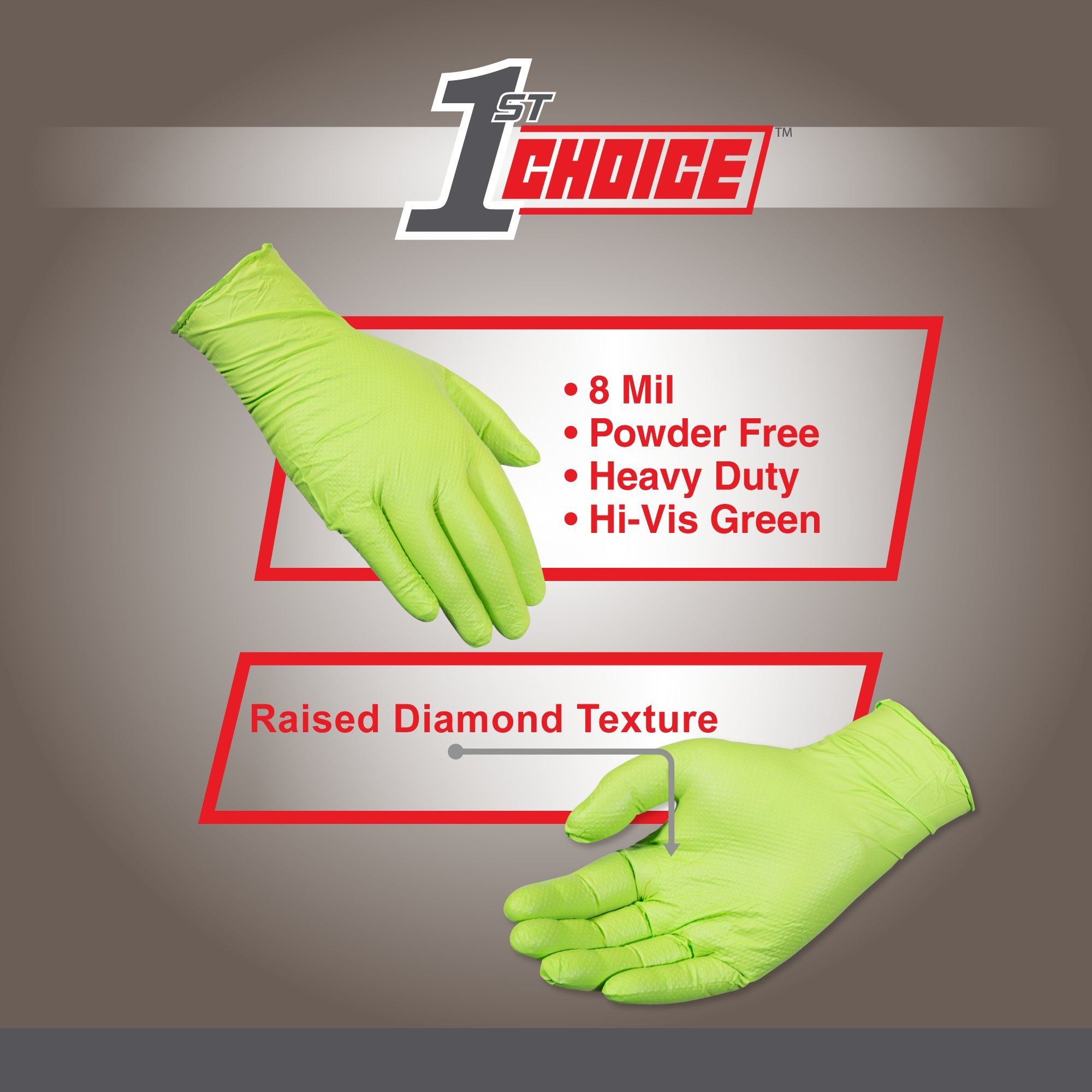 1st Choice Industrial 8 Mil Green Nitrile Gloves - Latex Free, Powder Free, Non-Sterile, Large, Case of 400 by 1st Choice (Image #3)