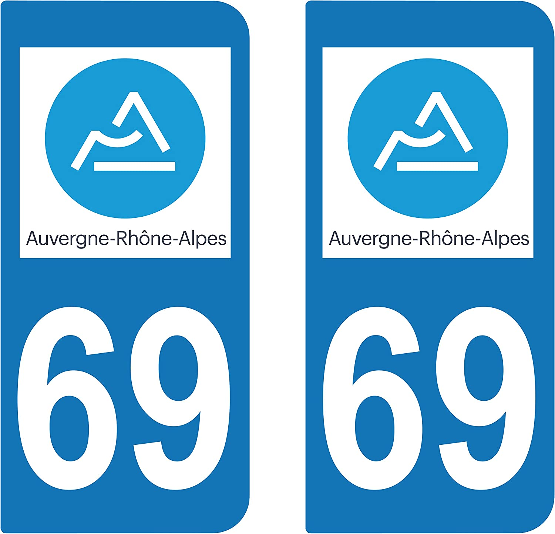 SAFIRMES 2 Stickers Autocollant Style Plaque Immatriculation d/épartement 69 RA