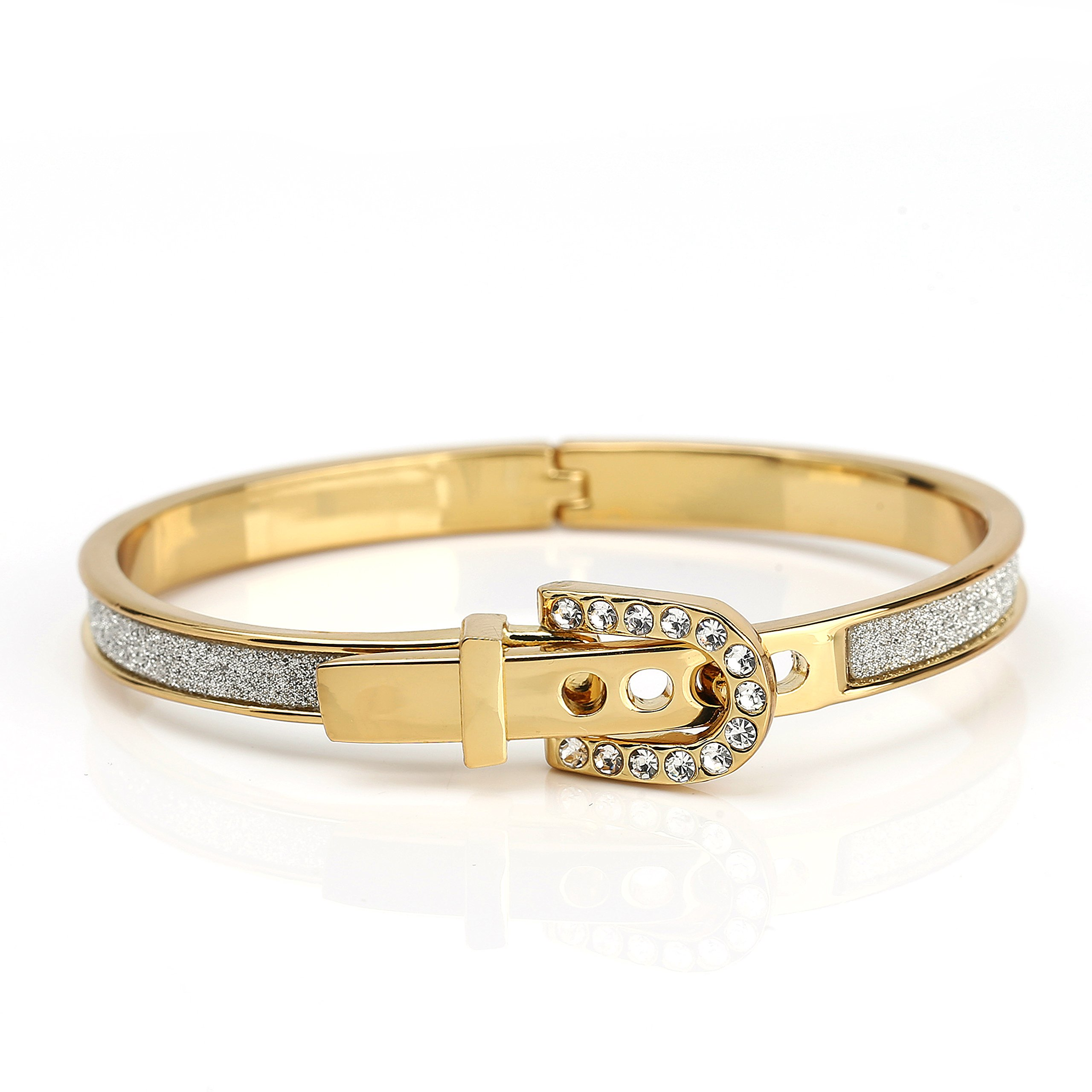 United Elegance - Trendsetting Gold Tone Hinged Bangle Bracelet with Buckle Clasp, Sparkling Swarovski Style Crystals and Shimmering Inlay