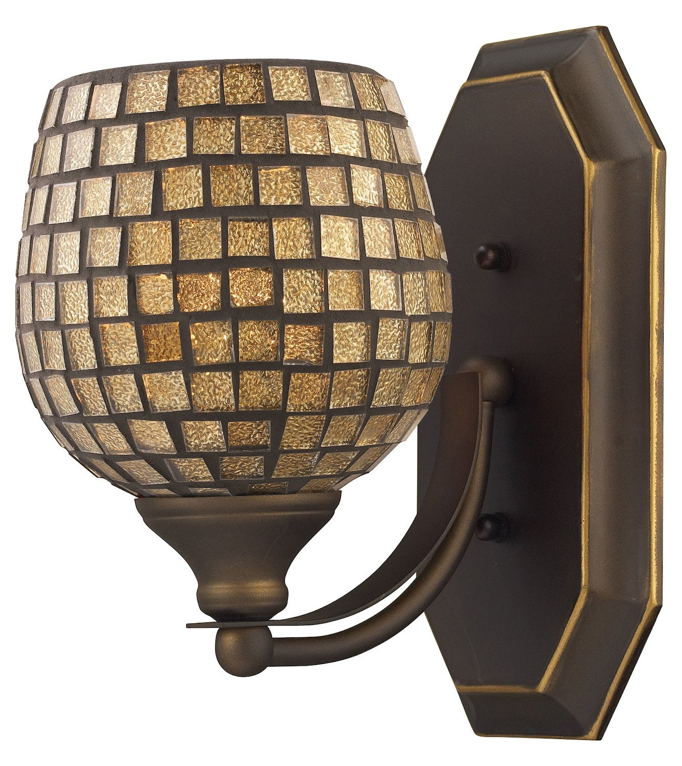 Bath and Spa 1 Light Vanity in Aged Bronze and Gold Leaf Glass by ELK Lighting (Image #2)