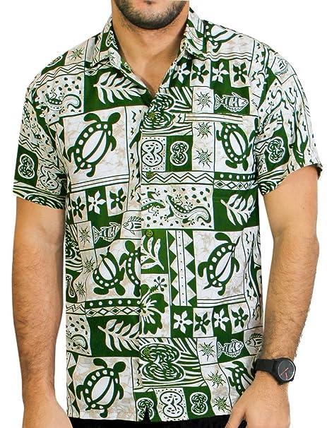 *La Leela* Mangas Cortas del Campamento de los Hombres de Algodón Palmera Aloha Hawaiano Botón de Camisa Verde Tropical del Mar IUFdW7d