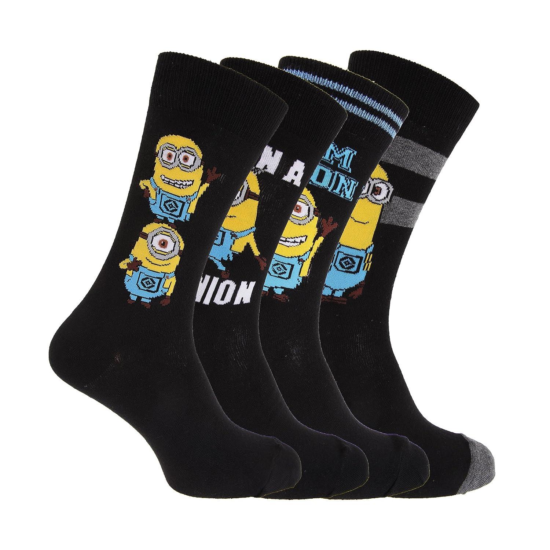 pacco da 4 Despicable Me Calzini alla caviglia fantasia Minions Uomo