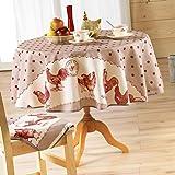 Couleur Montagne Nappe tissu ronde 180 cm Belle époque poule rouge, 180 cm