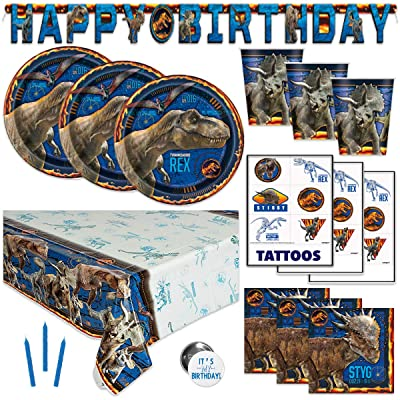 Jurassic World Park Fallen Kingdom Dinosaur Theme Birthday Party Supplies - Serves 16 - Banner Decoration, Table Cover, Plates, Cups, Napkins, Tattoos, Button: Toys & Games