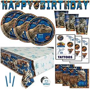 Jurassic World Park Fallen Kingdom Dinosaur Theme Birthday Party Supplies - Serves 16 - Banner Decoration, Table Cover, Plates, Cups, Napkins, Tattoos, Button