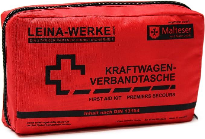 Leina Werke 11004 Kfz Verbandtasche Compact Mit Klett Rot Schwarz Auto