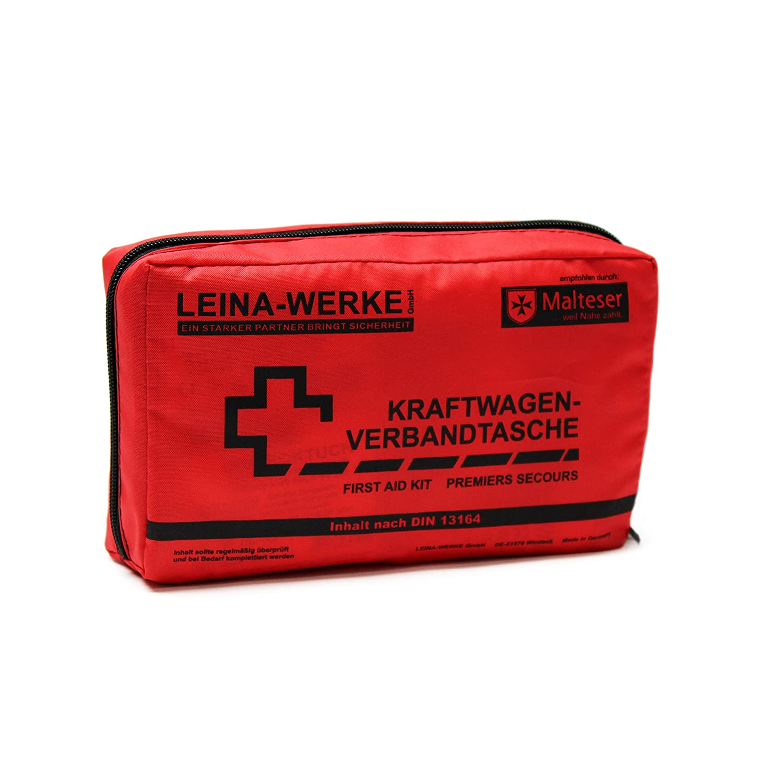 Leina Werke 11004 KFZ-Verbandtasche Compact mit Klett Rot//Schwarz