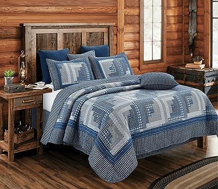 Amazoncom Montana Cabin Bluegray Quilt Set King Home Kitchen
