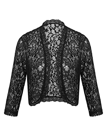 00e0d5b6e Dealwell Long Sleeve Shrug Woman Lace Bolero Ladies Party Jacket for Dress  Open Cardigan (Black