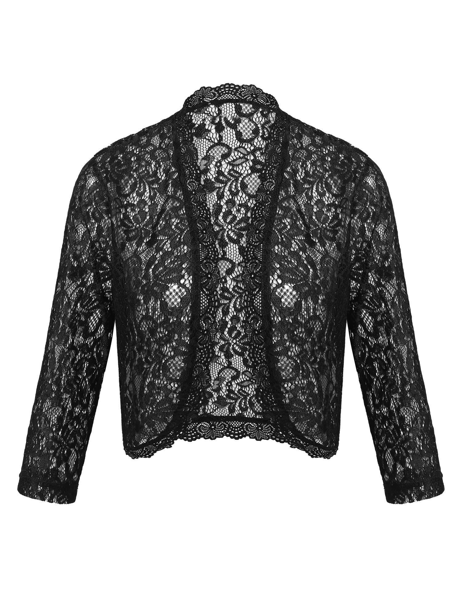 Dealwell Lace Bolero Shrug Women's Long Sleeve Summer Cropped Cardigans for Dresses (Black, L)