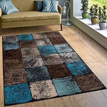 Paco Home Designer Teppich Wohnzimmer Ausgefallene Farbkombination Karo  Türkis Braun Creme, Grösse:60x100 Cm
