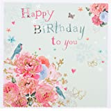 """Hallmark Birthday Card """"Flowers and Butterflies"""" - Small Square"""