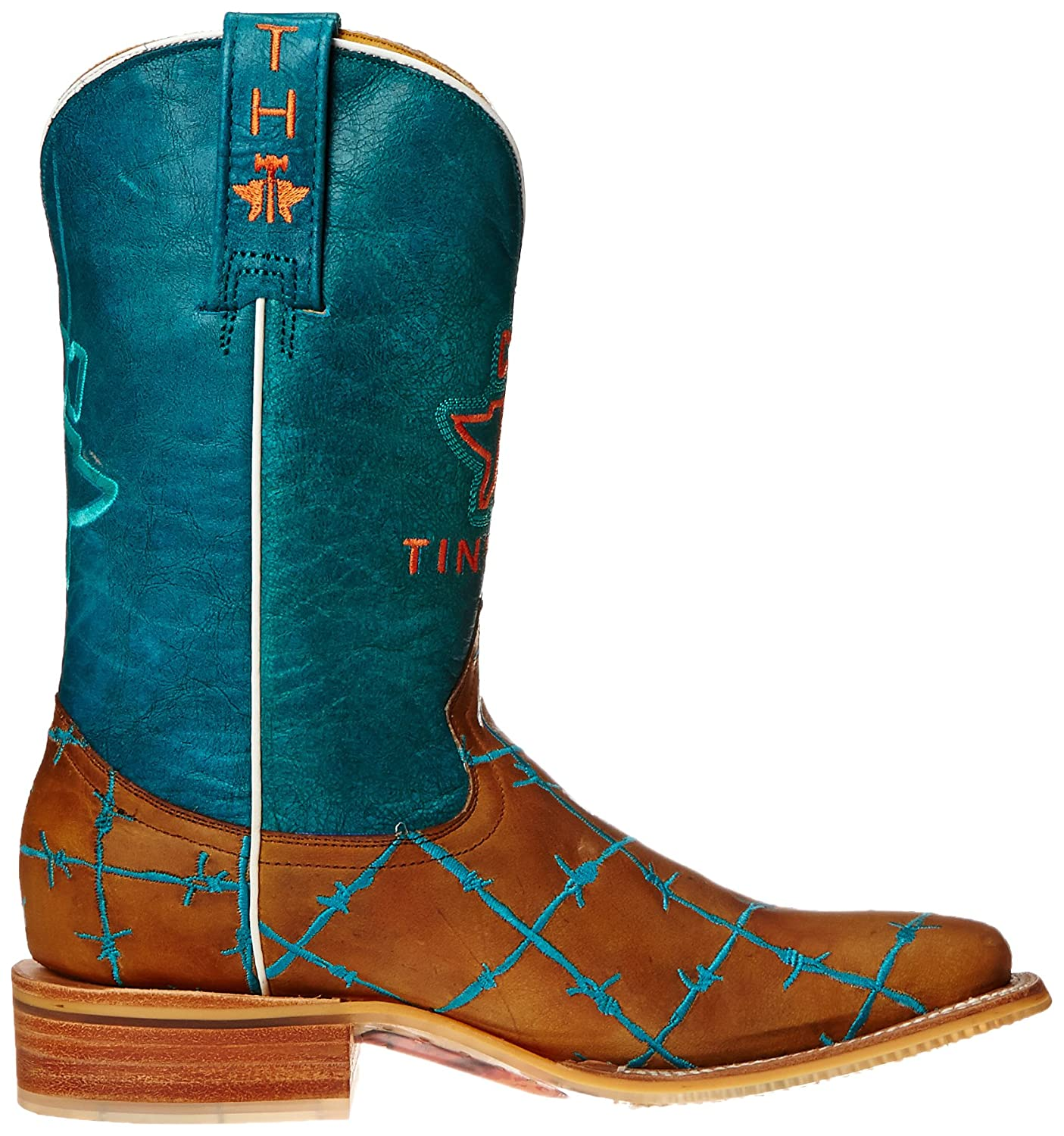 Tin Haul Western Shoes Women's Barb'd Wire Western Haul Boot B00WHUMPSQ 11 B(M) US|Tan & Turquoise 06e5c9