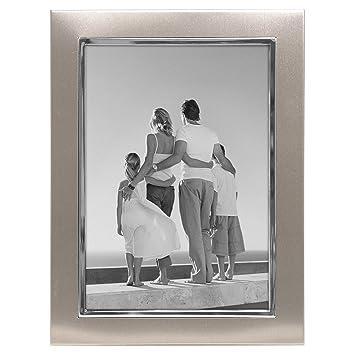 malden designs uptown matte silver with silver fashion metal frame 5x7 silver - Metal Picture Frames