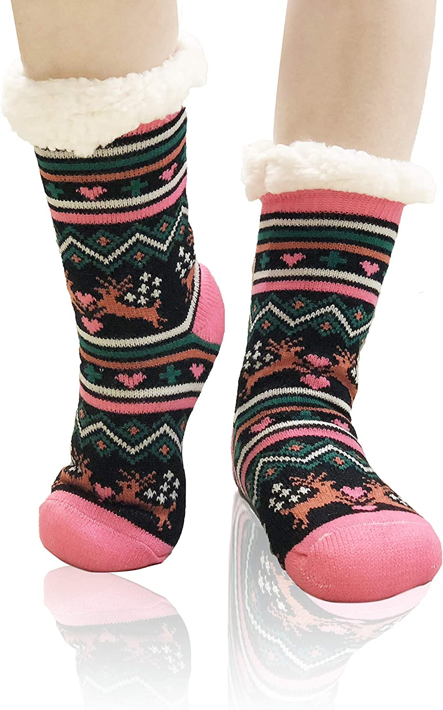 Allgala 2-PK Christmas Sherpa Fleece Lining Fuzzy Soft Slipper Socks