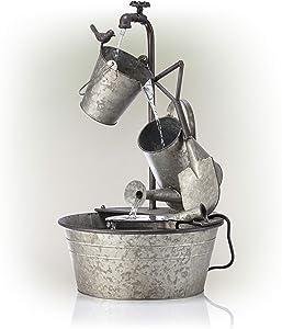 """Alpine Corporation 28"""" Tall Outdoor 3-Tier Metal Garden Tools Water Fountain"""