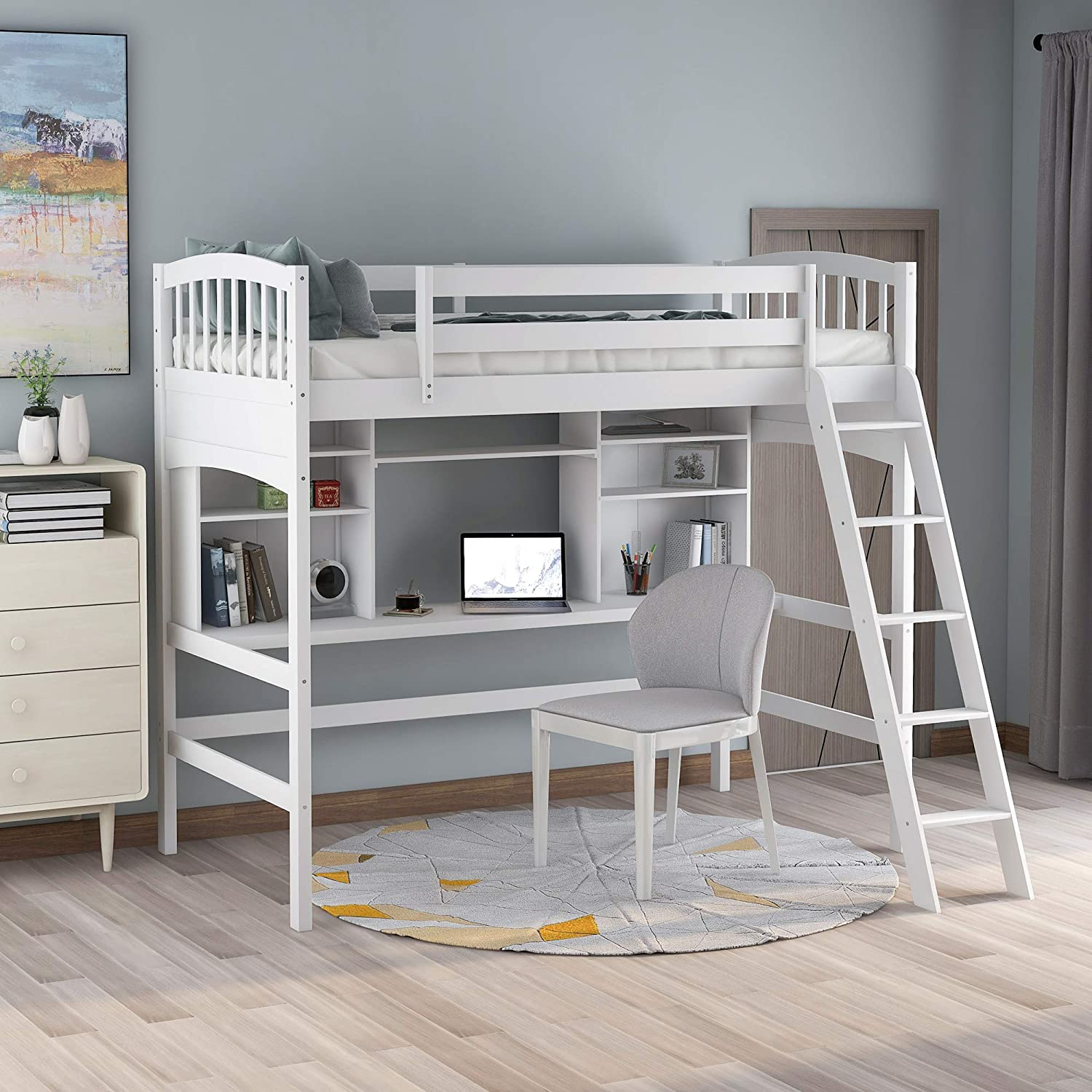 Amazon Com Purlove Solid Wood Twin Loft Bed With Desk And Bookshelf Storage Function No Box Spring Needed Ladder Can Be Assembled On Either Sides White Kitchen Dining
