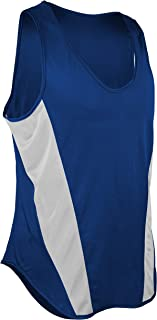 product image for TR-522-CB Men's Performance Sprint Single Ply Lightweight Singlet with Panels (Large, Royal/White)