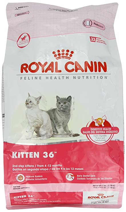Amazon.com : Royal Canin Dry Cat Food, Kitten 36 Formula, 7-Pound Bag : Dry Pet Food : Pet Supplies