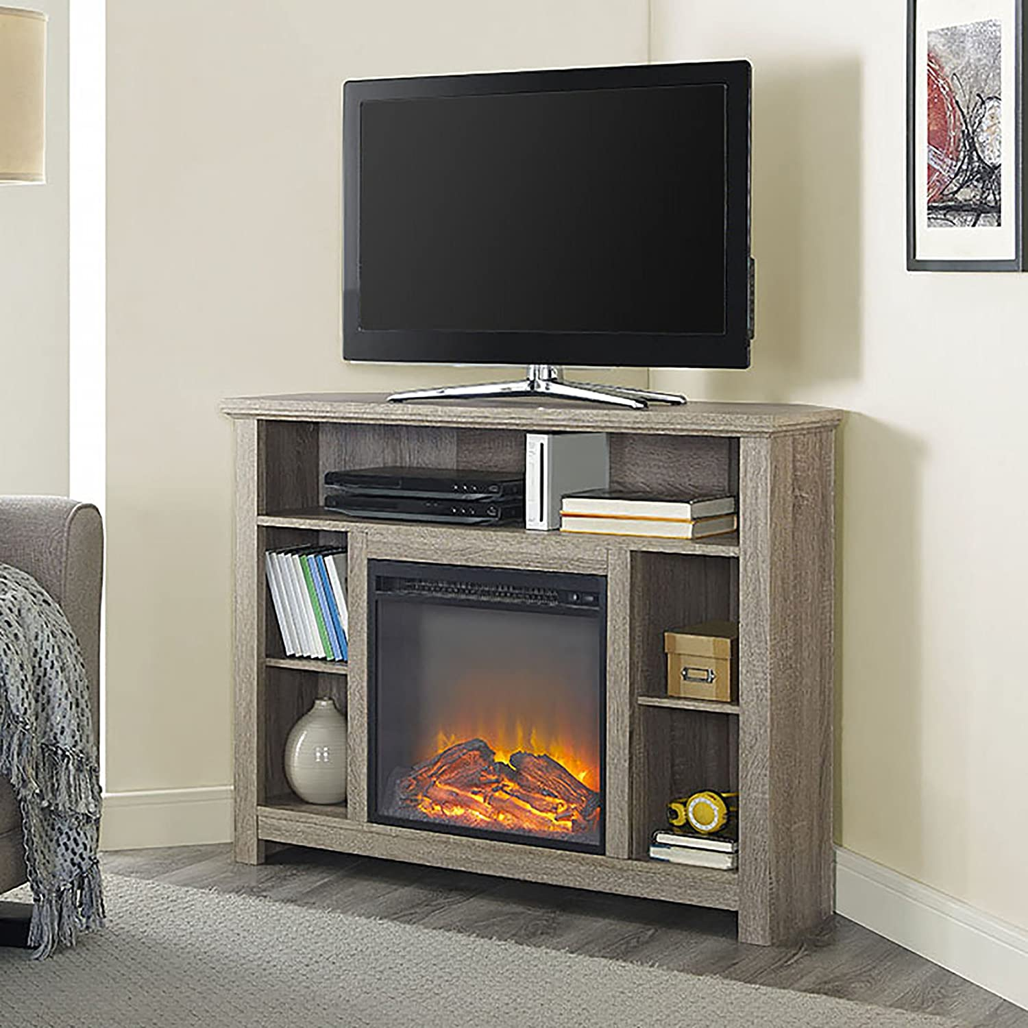 WE Furniture 44-inch Driftwood Wood Corner Fireplace TV Stand Console for Flat Screen TV's Up to 48-inch Entertainment Center