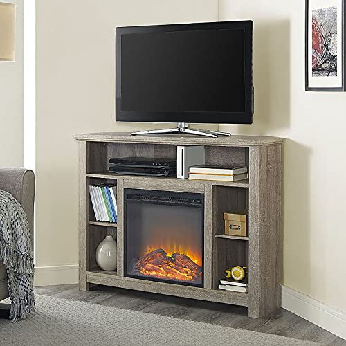 WE Furniture 44 Driftwood Wood Corner Fireplace TV Stand Console for Flat Screen TV s Up to 48 Entertainment Center