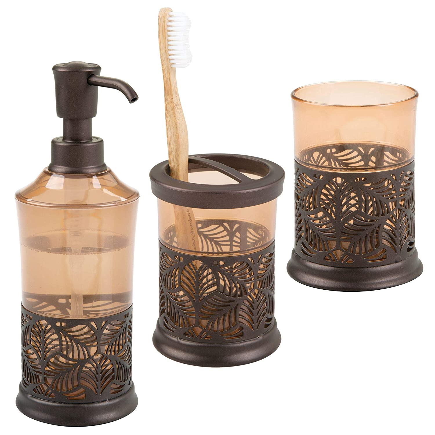 mDesign Decorative Bath Accessory Set with Leaf Design for Bathroom Vanity Countertops and Sinks, Includes Hand Soap Dispenser, Toothbrush Holder and Tumbler - Set of 3 - Clear/Brushed MetroDecor