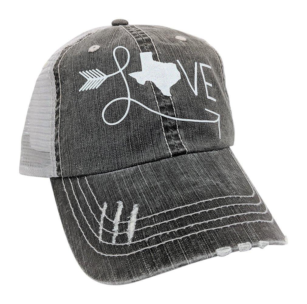 Loaded Lids Women's Love Texas Distressed Bling Baseball Cap (Grey/White)