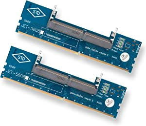 EEEKit 2-Pack DDR4 Laptop SO-DIMM to Desktop DIMM Memory RAM Connector Adapter Memory Tester, Over-Current Protection