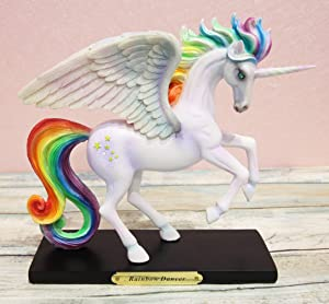 Ebros Rose Khan Illustration Fantasy Unicorn Mare Horse Figurine in Vibrant Colors with Brass Name Plate Base Decor Collectible Magical Unicorns Theme (Rainbow Dancer)