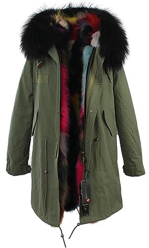 S.ROMZA Mujer Real Raccoon Fur Parka Casual Chaqueta con Capucha Desmontable Chaquetas