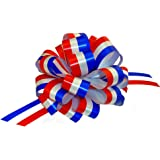"""Red, White, and Blue Pull Bows - 6"""" Wide, Set of 6, Patriotic Holiday Decorations for 4th Of July, Memorial Day, Veteran's Day, Election Ribbon"""
