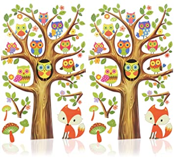 02 piece - Wall tattoo Owls reusable wall stickers self-adhesive decorative wall stickers for kids com-four/® 2x wall decal with owls