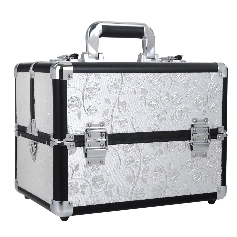 d87e9903d8a2 Joligrace Professional Large Makeup Case Cosmetics Box 18 Compartments With  Shoulder Strap Nail Polish Storage Lockable Makeup Organizer Vanity Train  ...
