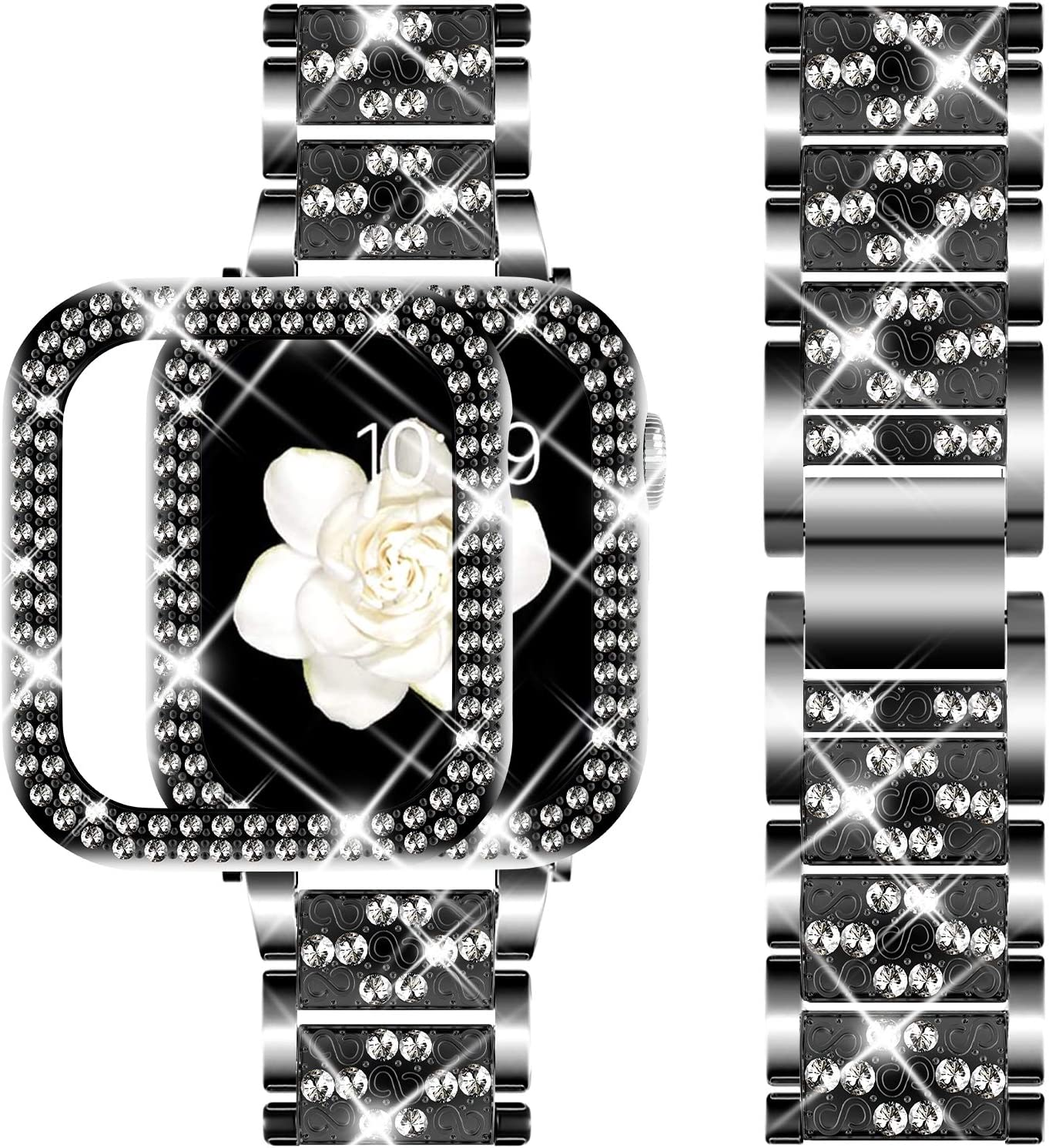 DABAOZA Compatible Apple Watch Band 38mm with Case, Bling Women Girl Dressy Crystal Band with Shiny Protective Bling Bumper Frame Cover for iWatch Series 3/2/1 (Black, 38mm)