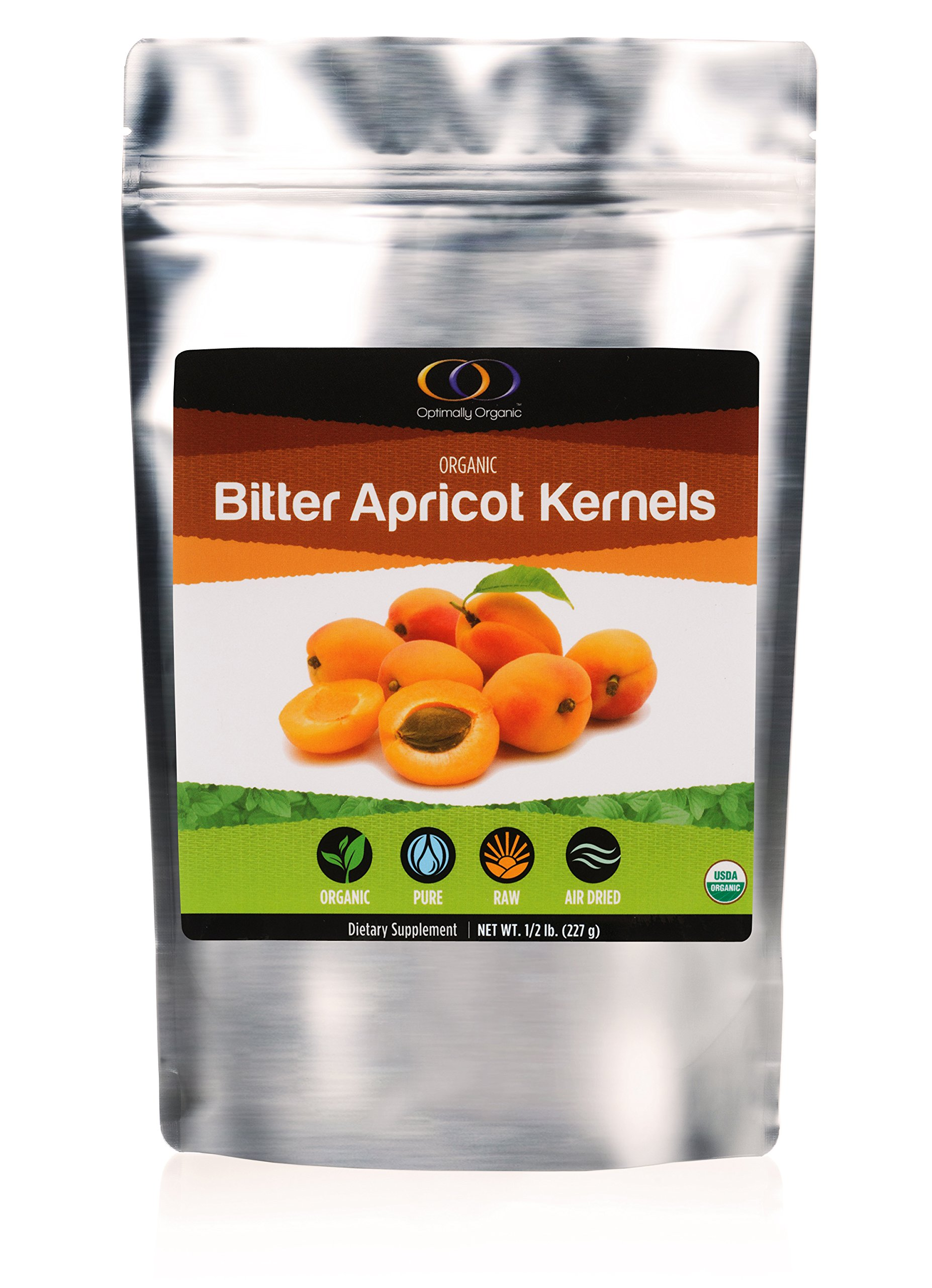 Organic Apricot Seeds with Vitamin B17, Raw Bitter Apricot Kernels, Vegan, 1/2 Pound