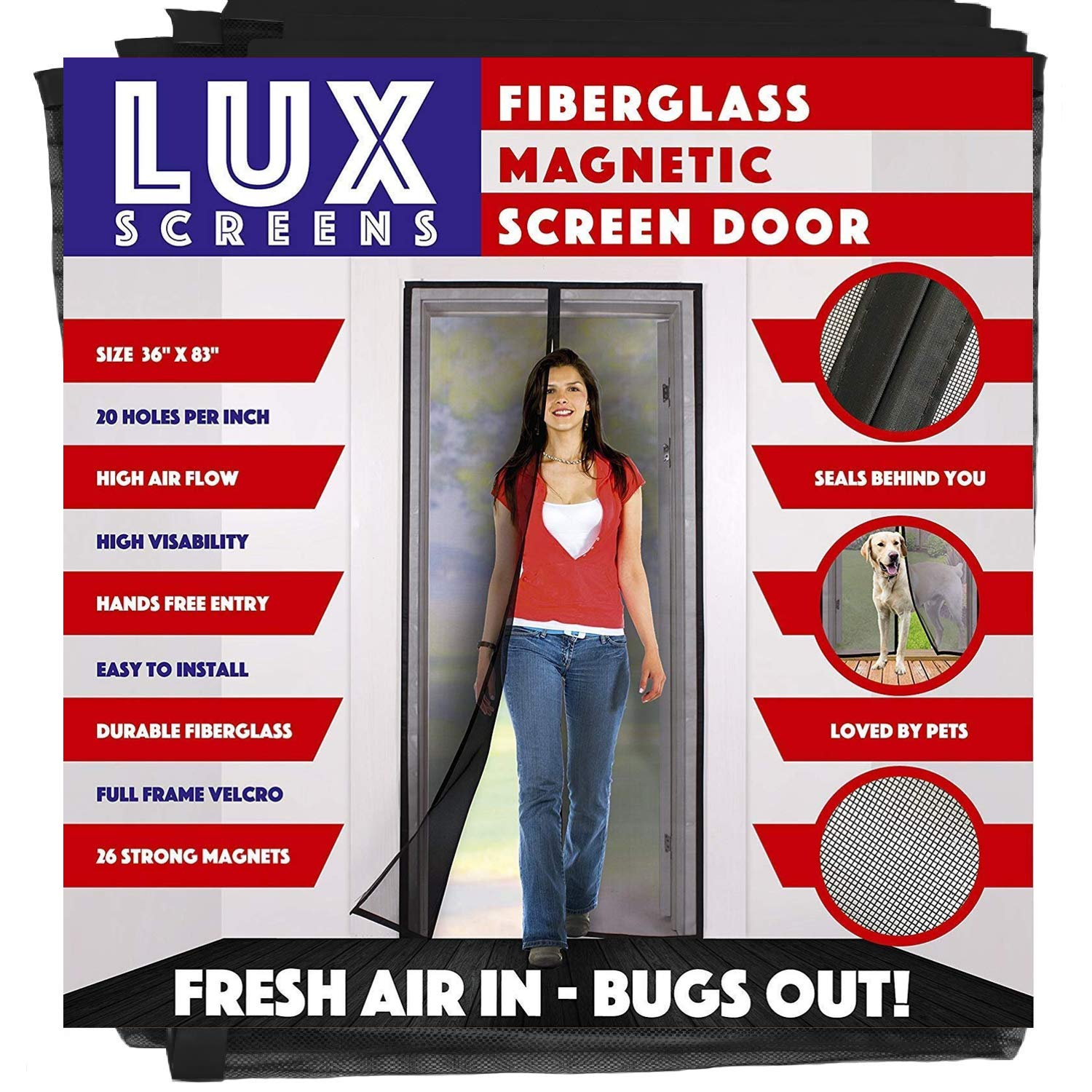 Magnetic Screen Door New 2017 Patent Pending Design Full Frame Velcro & Fiberglass Mesh Not Polyester This Instant Retractable Bug Screen Opens and Closes like Magic it's the Last Screen You'll Need by Lux Screens