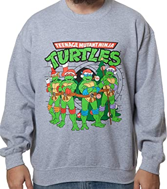 freeze mens teenage mutant ninja turtles sewer faux christmas sweater athletic grey small