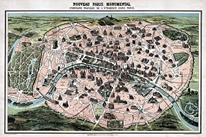 Amazon wall map of the city of paris france by dufour circa wall map of the city of paris france by dufour circa 1878 measures 24quot gumiabroncs Image collections