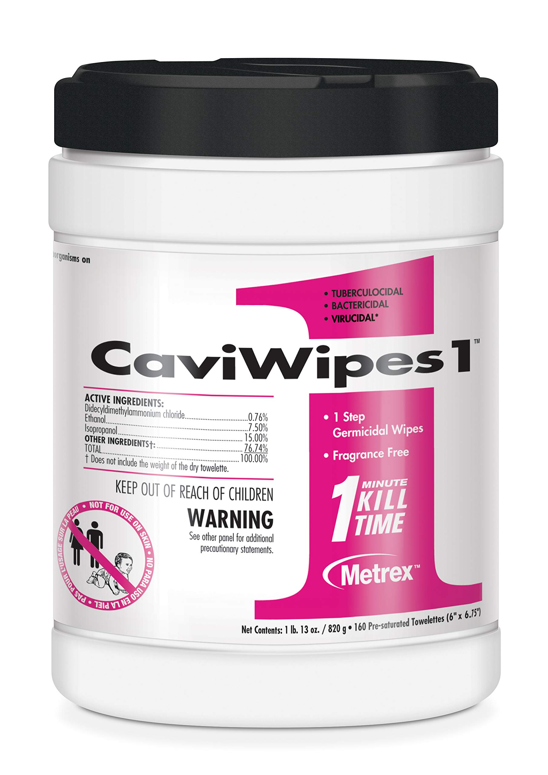Caviwipes1 (6'' X 6.75''), 160 Count (Case Of 12 Canisters) - 13-5100