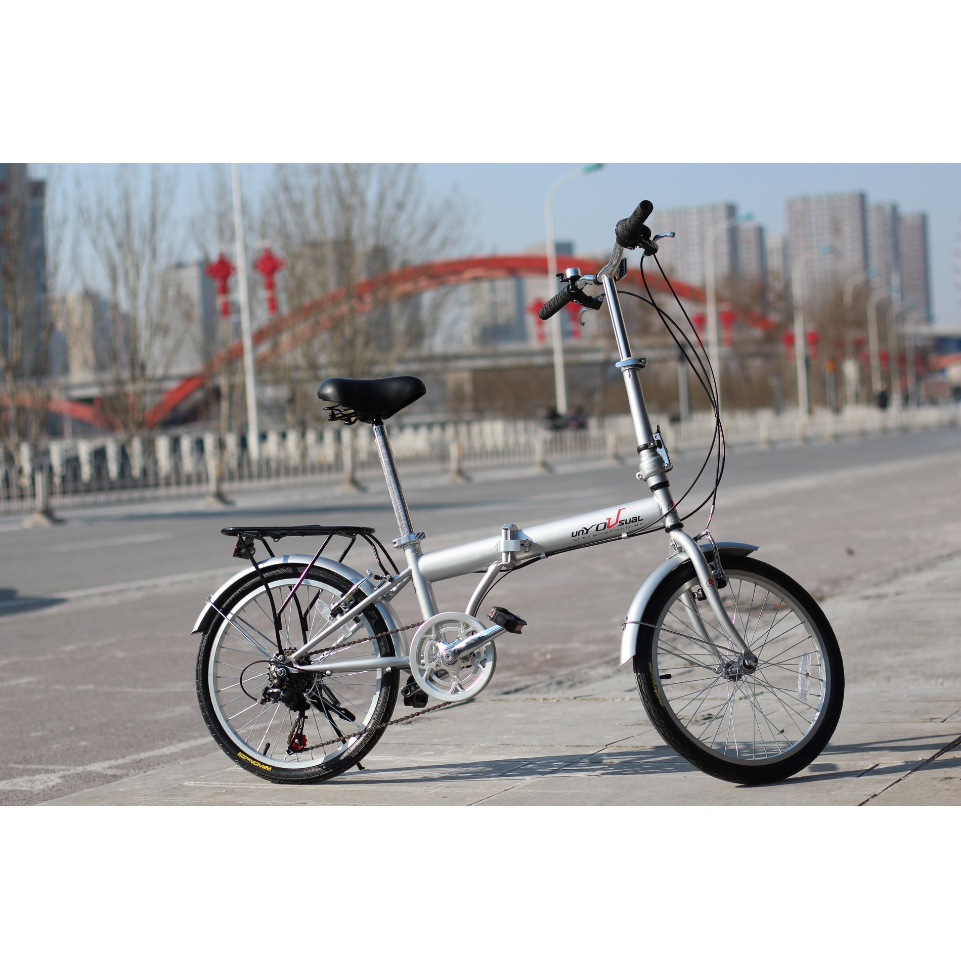 unYOUsual U transformer 20'' Folding City Bike Bicycle 6 Speed Shimano Gear Steel Frame Mudguard Rear Carrier Silver by IDS (Image #3)
