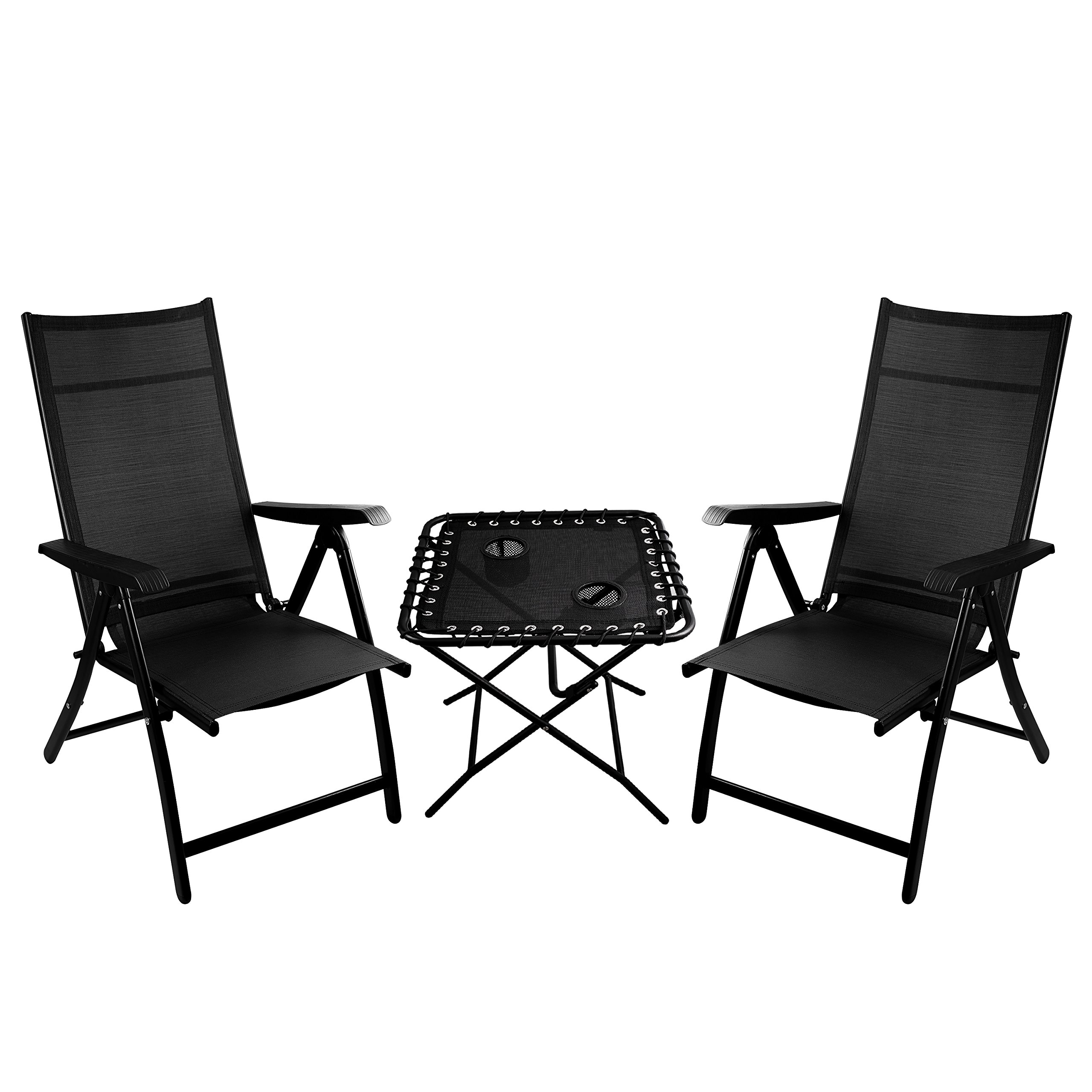 2 Heavy Duty Durable Adjustable Reclining Folding Chairs + 1 Folding Side Table Outdoor Indoor Garden Pool