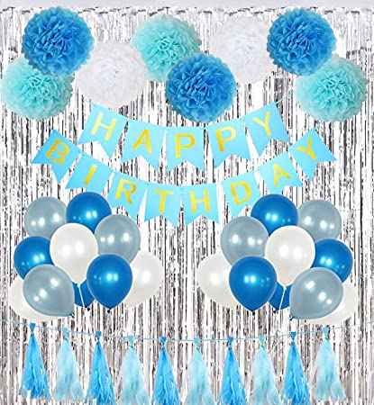 Birthday Party Decorations Kit Boy Supplies with Banner, Balloons, Pom Poms Flowers, Foil Fringe Curtain, Paper Tassels in Blue