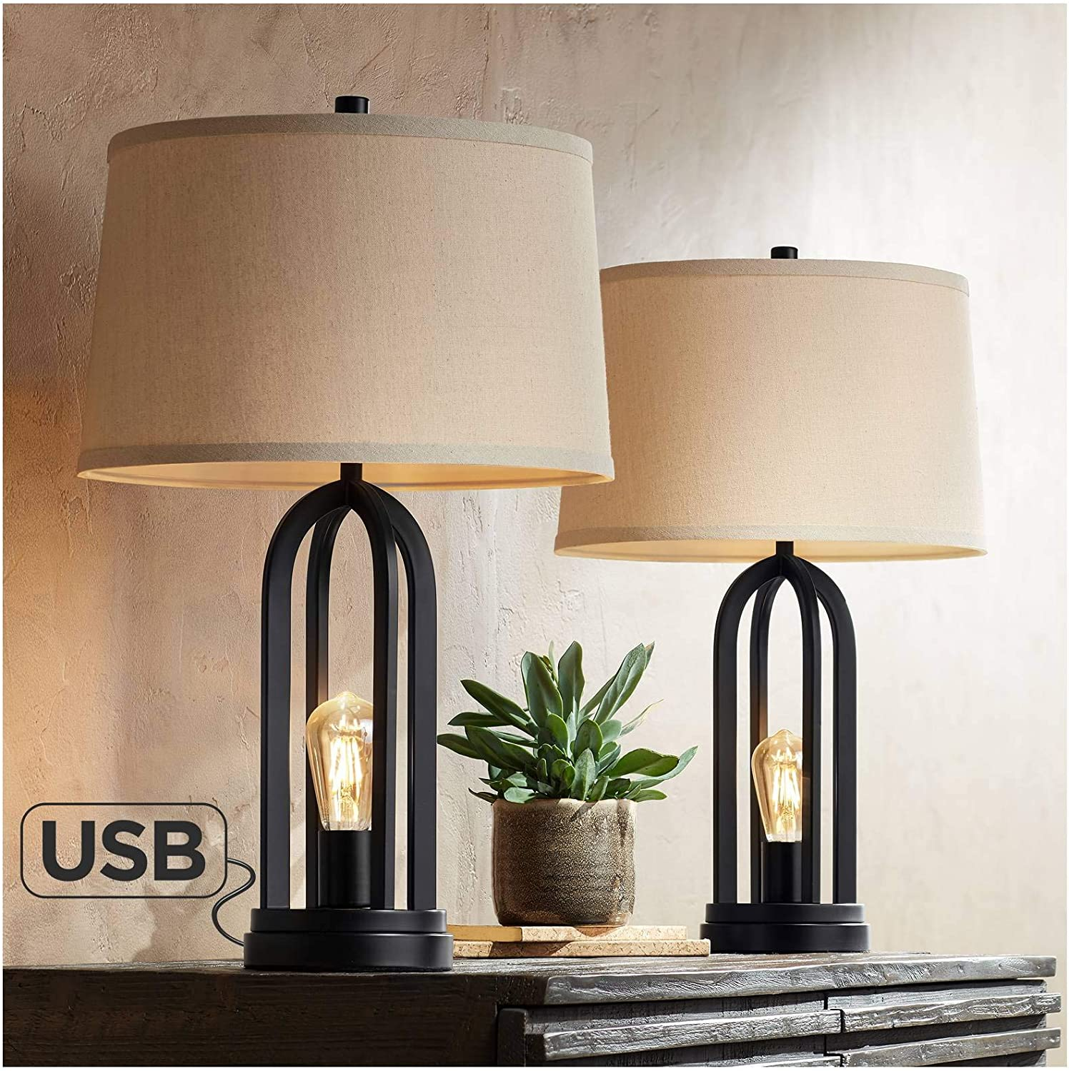 Marcel Modern Farmhouse Industrial Black Table Lamps Set Of 2 With Nightlight Led Usb Port Linen Shade Decor For Living Room Bedroom House Bedside Nightstand Home Office Family 360 Lighting