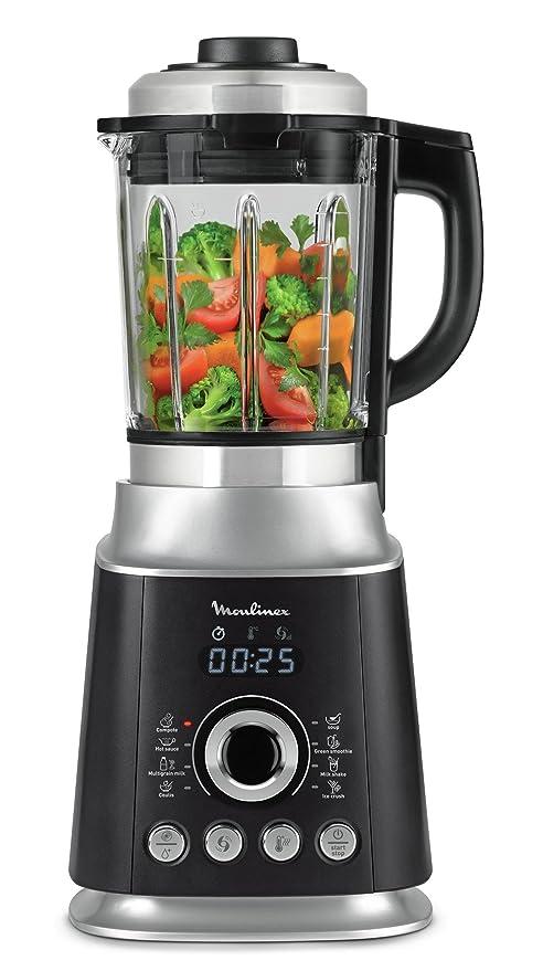 Moulinex Ultrablend Cook LM962B10 Batidoras de vaso de 1500 W de potencia y 6 programas automáticos, 6 cuchillaspantalla digital intuitiva, y vaso de ...