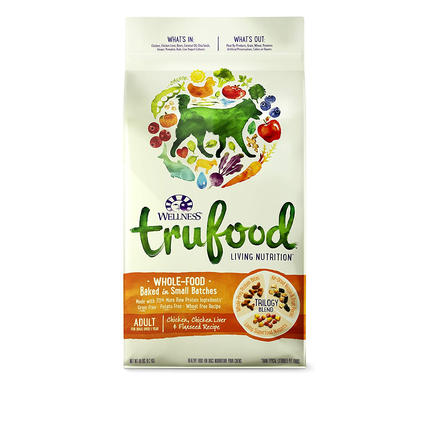 Amazon wellness trufood baked blends natural grain free dry raw amazon wellness trufood baked blends natural grain free dry raw dog food chicken chicken liver flaxseed 18 pound bag pet supplies forumfinder Images