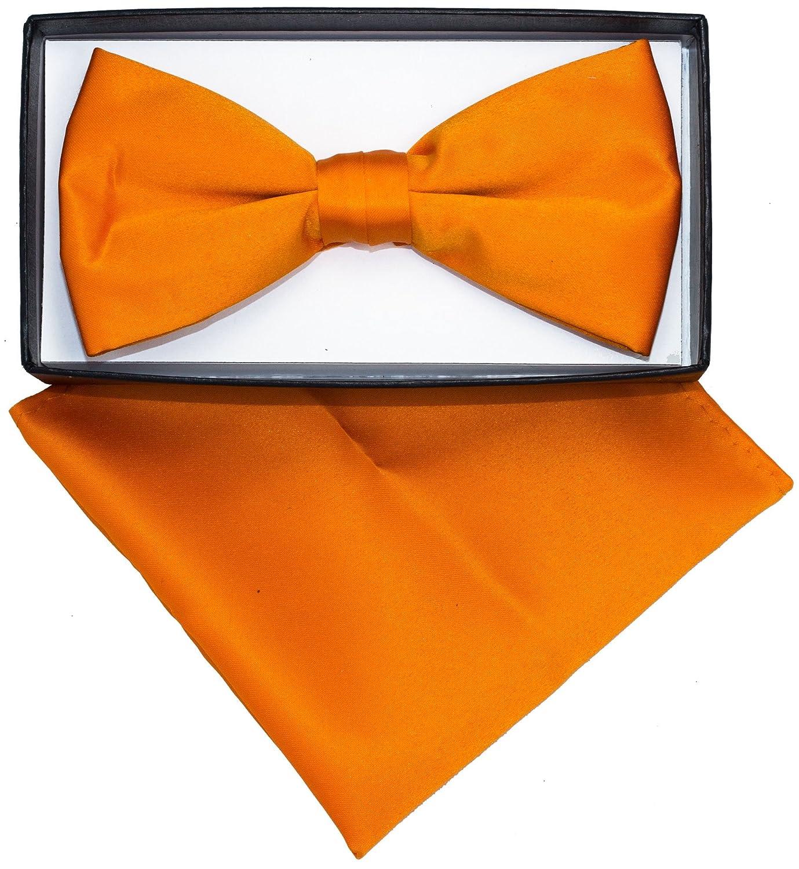 Hanky sb-orange Mens Orange Solid Pre Tied Bow Tie