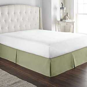 Hotel Luxury Bed Skirt Dust Ruffle 1800 Platinum Collection 14 inch Tailored Drop, Wrinkle & Fade Resistant (Queen, Sage)