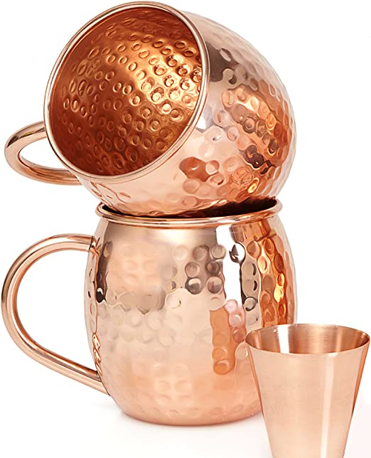16 oz Hammered Copper Moscow Mule Mug Set of 2 Premium Handcrafted Quality with Bonus Shot Glass