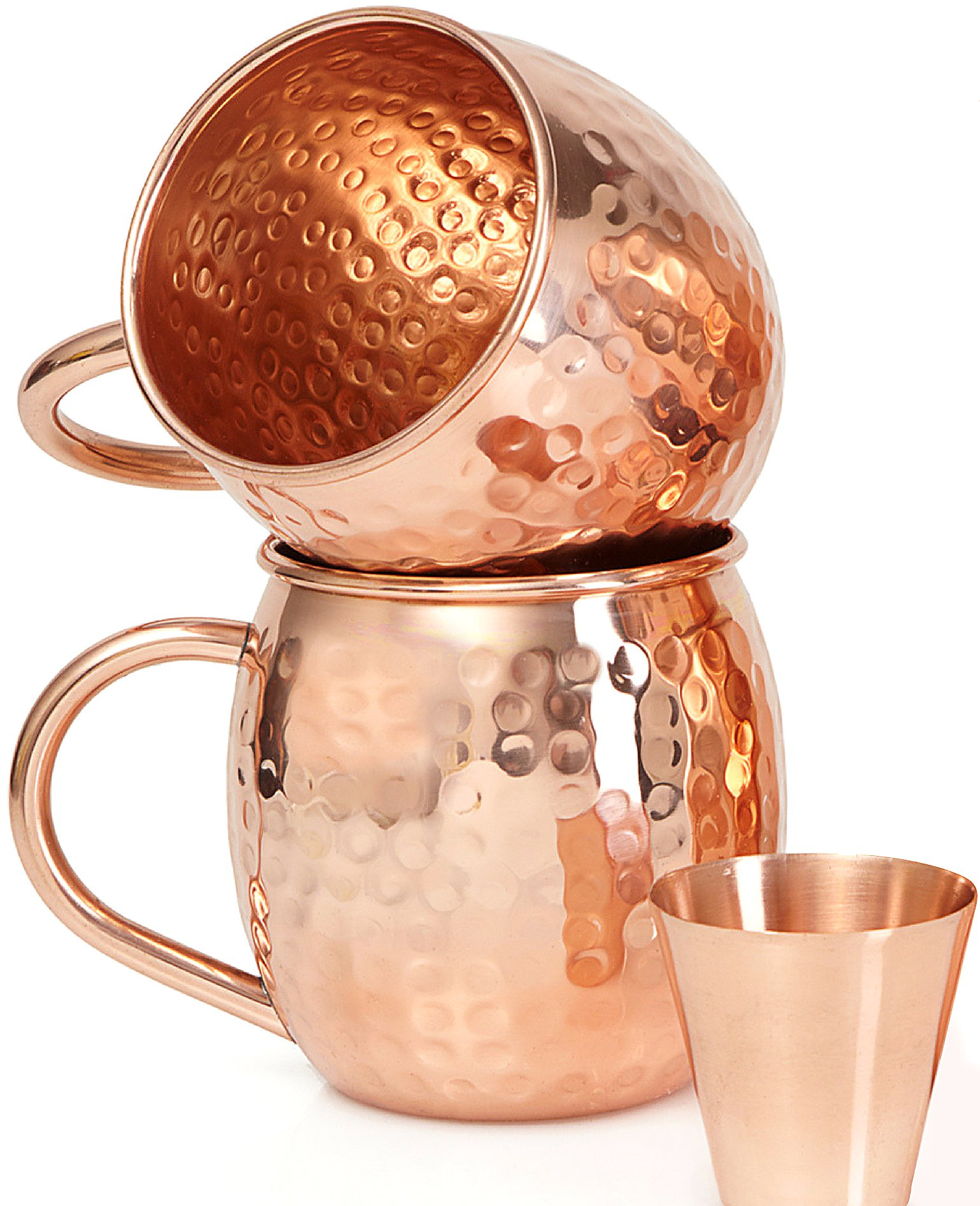 Set of 2 Moscow Mule Copper Mugs with Shot Glass - Two 16 Oz Copper Moscow Mule Mugs - Solid Copper Hammered Mug - Copper Cups for Moscow Mules by Willow & Everett (Image #1)